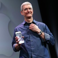 Tim Cook with an iPhone.
