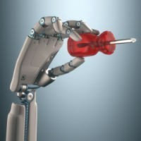 robot hand with screwdriver