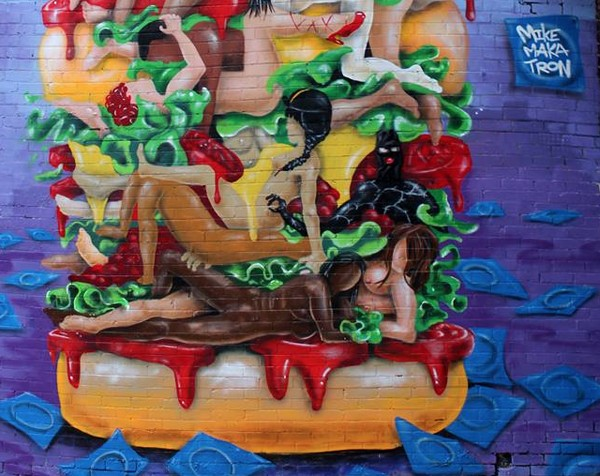 """Melbourne family business caught in the spotlight over """"kama-sutra burger"""" mural"""
