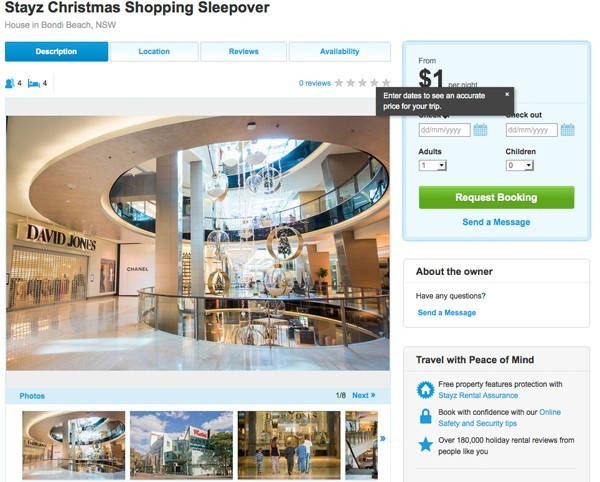 Stayz offers Christmas shoppers the chance to sleep over at a Westfield shopping centre for $1