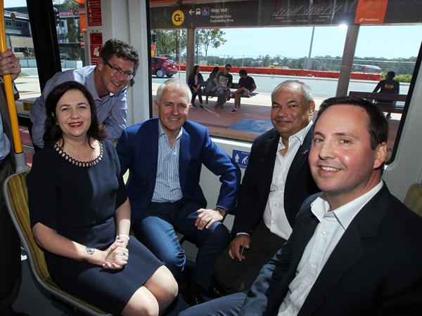 Australia's new Trade Minister Steven Ciobo (far right) with Malcolm Turnbull in October last year.