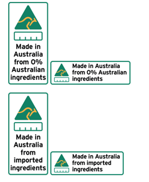 Ingredients not from Australia