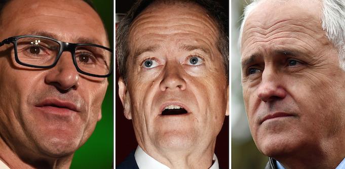 Richard Di Natale, Bill Shorten, Malcolm Turnbull