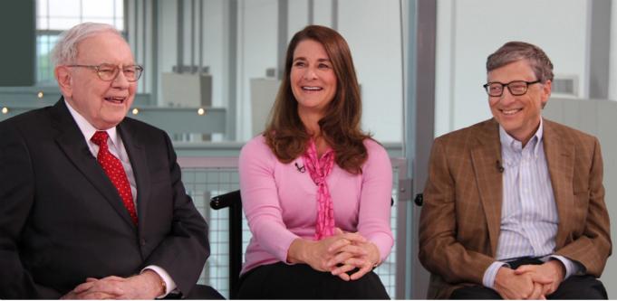 [Left to right] Warren Buffett, Melinda Gates and Bill Gates