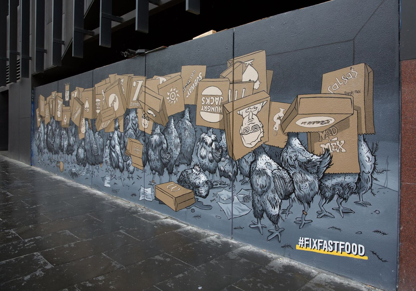 The mural on the side of Melbourne Central.