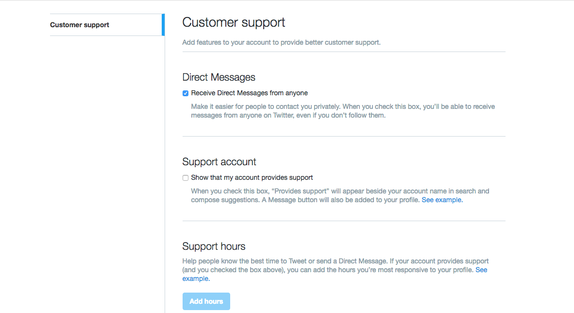 Twitter customer support features