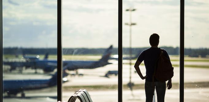 Man waiting at an airport