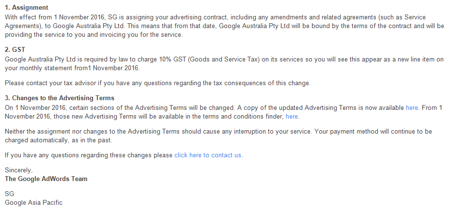Email to a customer from Google about the change. Source: Supplied.