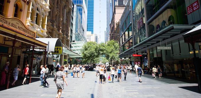 Pitt St shopping mall Sydney