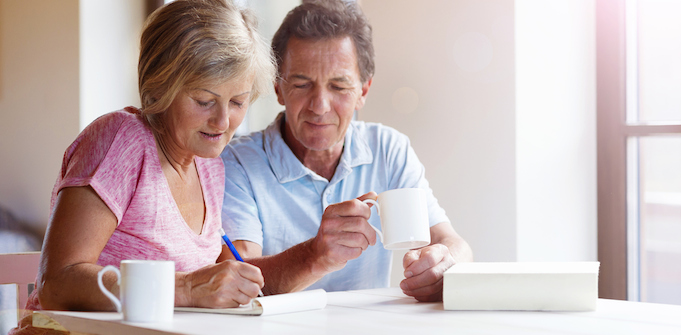 Couple planning retirement superannuation