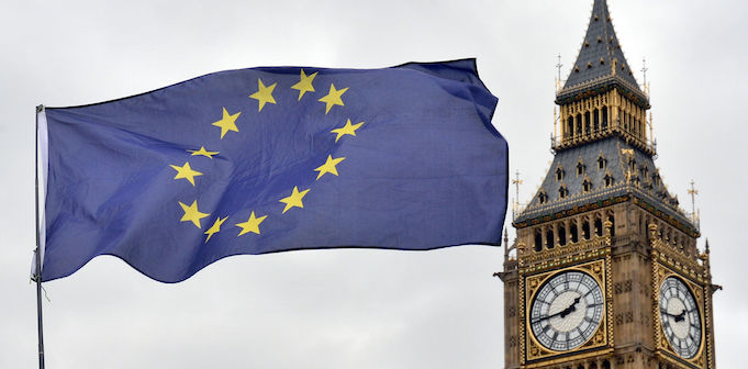 Brexit European Union Flag at Westminster