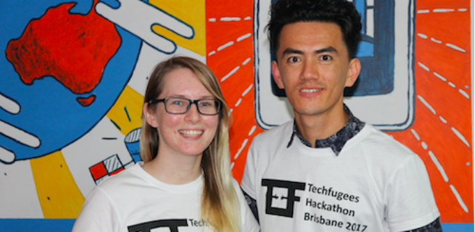 Kelsey-Lee Stay and Shahwali Kazimi founders of Springboard, an app aimed at empowering young refugee entrepreneurs