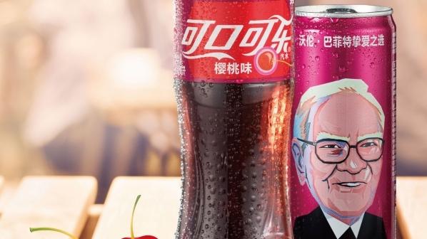 Warren Buffett's face on Cherry Coke cans