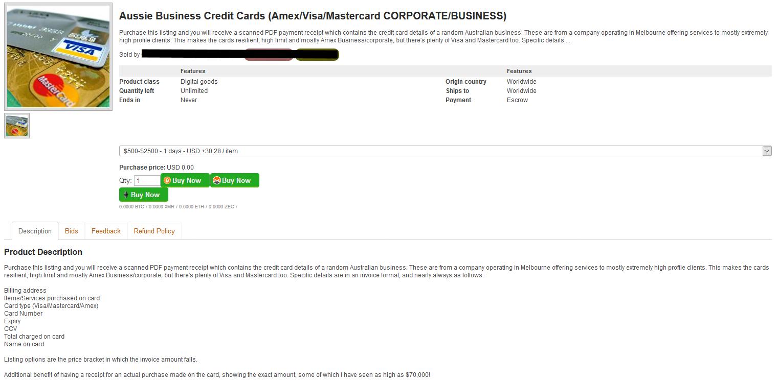 dark web dark net credit cards