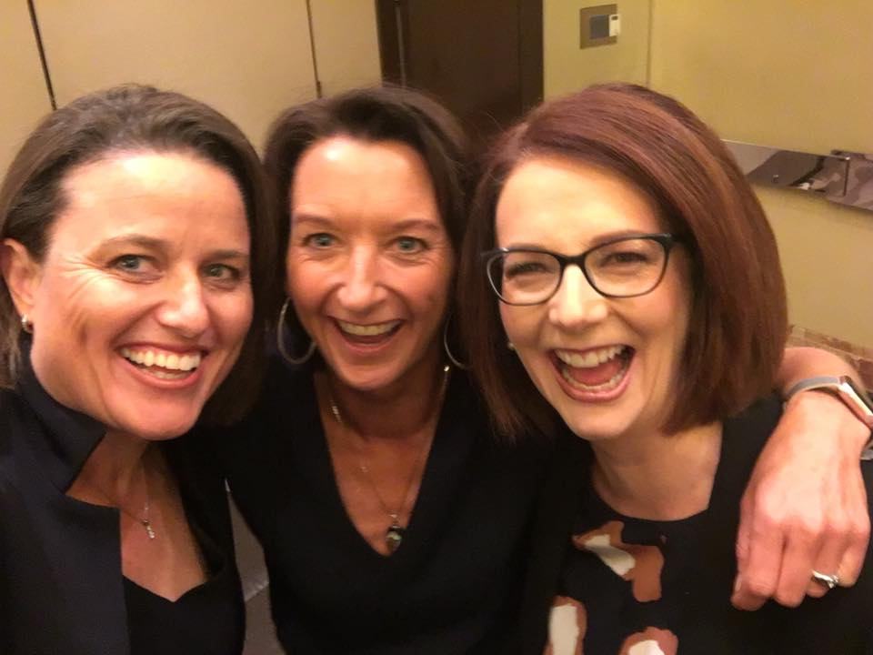 Kirstin Ferguson with Layne Beachley and Julia Gillard.