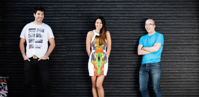 Canva founders Cliff Obrecht, Melanie Perkins and Cameron Adams. Source: Supplied.