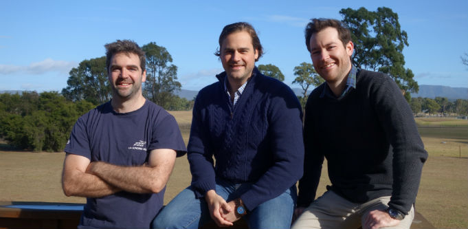 AgriWebb co-founders Kevin Baum (left), Justin Webb (centre) and John Fargher. Source: Supplied.