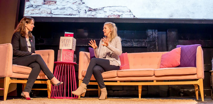 Timelio co-founder Charlotte Petris (right) in conversation with LaunchVic chief Kate Cornick at Yeah Nah 2018. Source: Supplied.
