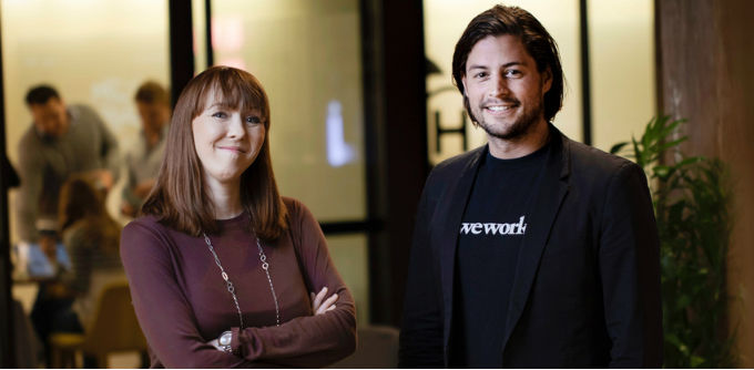 Zambesi co-founder Rebekah Campbell and general manager of WeWork Australia Balder Tol. Source: Supplied.