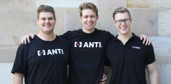 ANTI co-founders Rob Joseph and Liam Norris, with CTO Brodie Robinson. Source: Supplied.