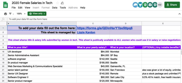 women in tech spreadsheet