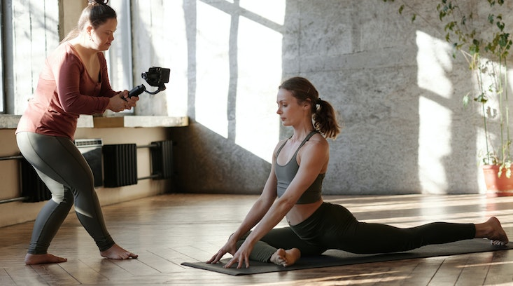 woman-yoga-filming
