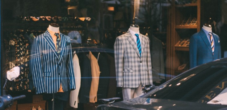 business suits in shop window