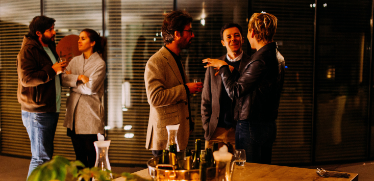 people networking, drinking