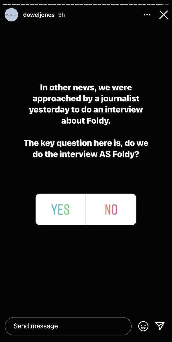 Dowel Jones Foldy Instagram story